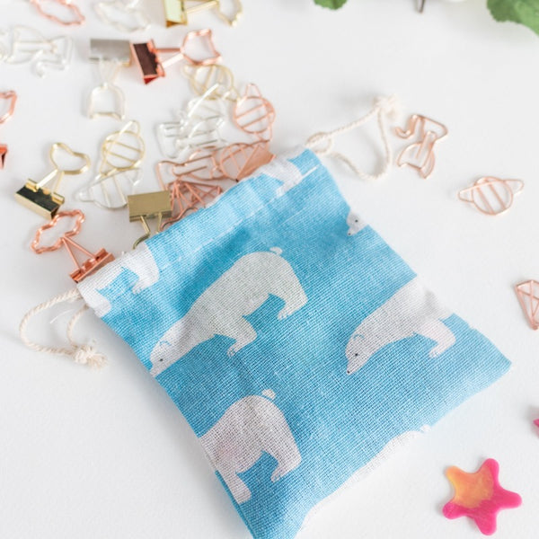Bear String Canvas Pouch