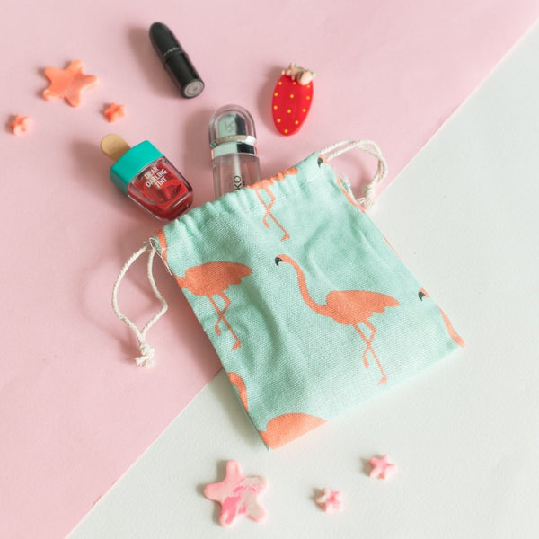 Flamingo String Canvas Pouch