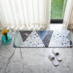Marble Print Anti - Slip Bed Runner