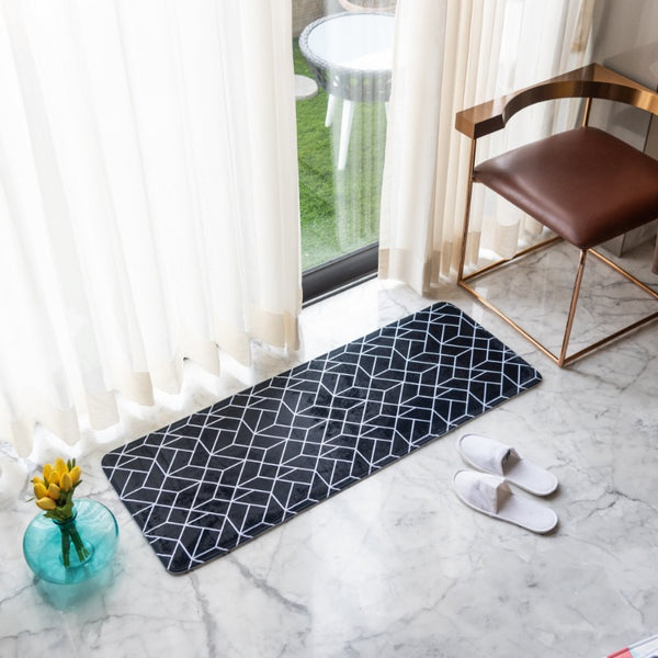 Black Abstract Anti - Slip Bed Runner