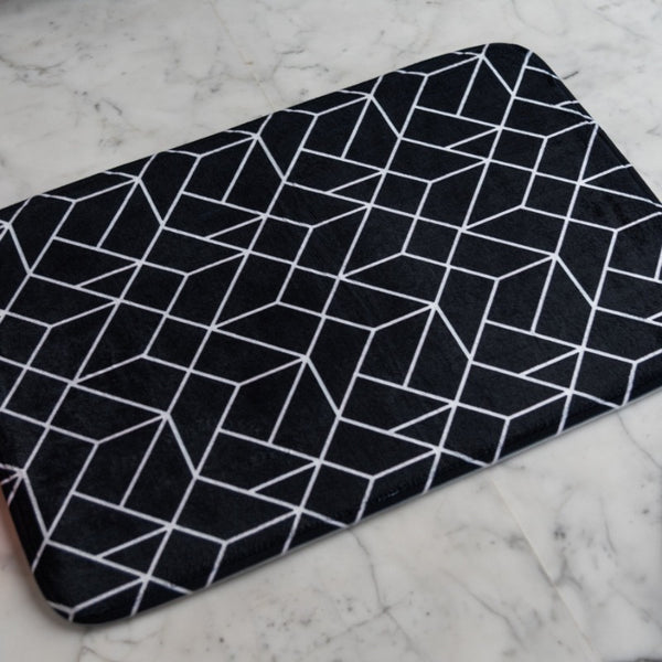 Black Abstract Anti - Slip Doormat