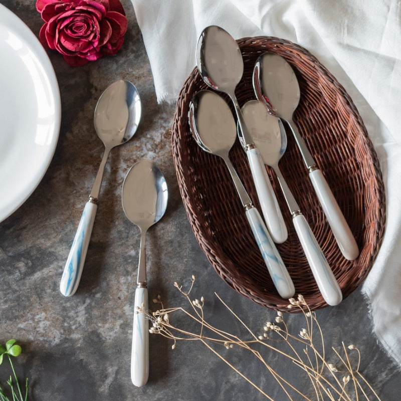 Spoon & Fork Set - White & Blue