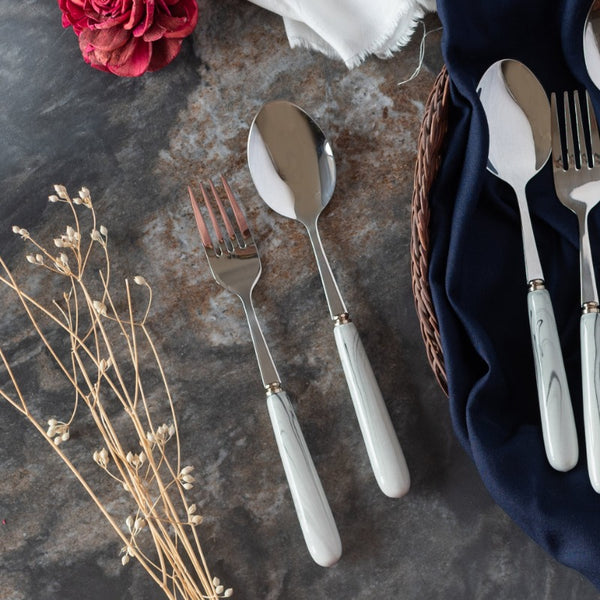 Spoon & Fork Set - White & Black