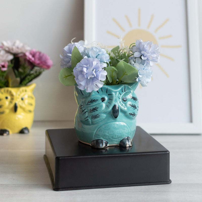 Owl Planter - Hand Painted Mini Resin Pot