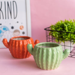Cactus Planter - Hand Painted Mini Resin Pot