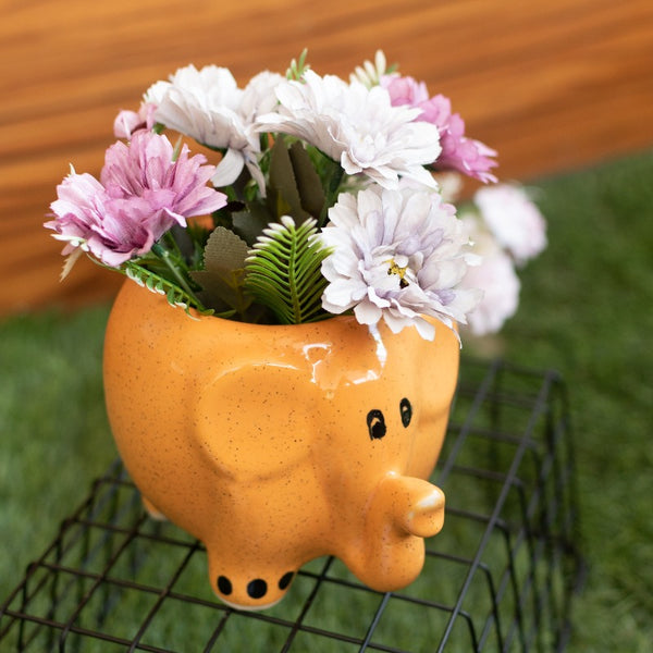 Cute Elephant Planter - Hand Painted Mini Resin Pot