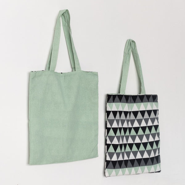 Mint Green Abstract Reversible Shoulder Bag