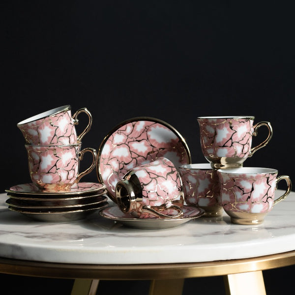 Pink Ripple Gold Rimmed Tea Cup and Saucer Set (Set of 6)
