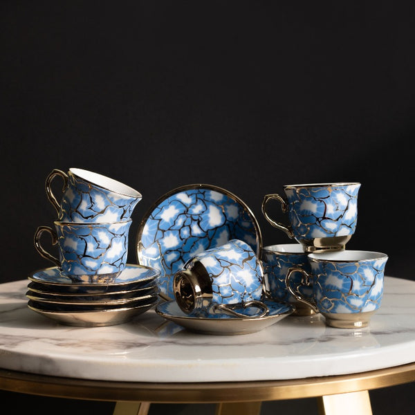 Blue Ripple Gold Rimmed Tea Cup and Saucer Set (Set of 6)