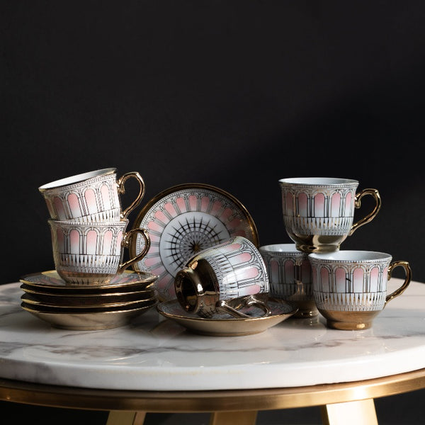Pink Vintage Gold Rimmed Tea Cup and Saucer Set (Set of 6)