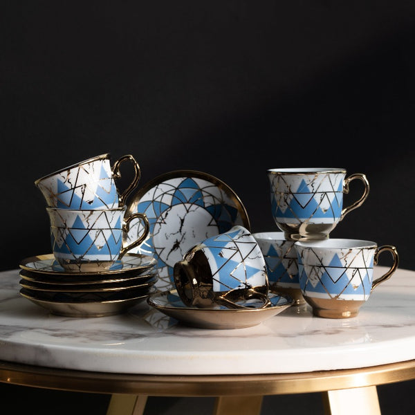 Blue Geometric Gold Rimmed Tea Cup and Saucer Set (Set of 6)