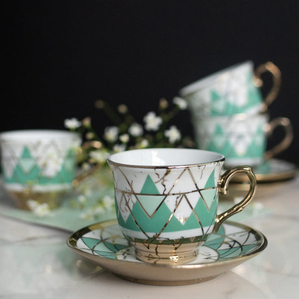 Green Geometric Gold Rimmed Tea Cup and Saucer Set (Set of 6)