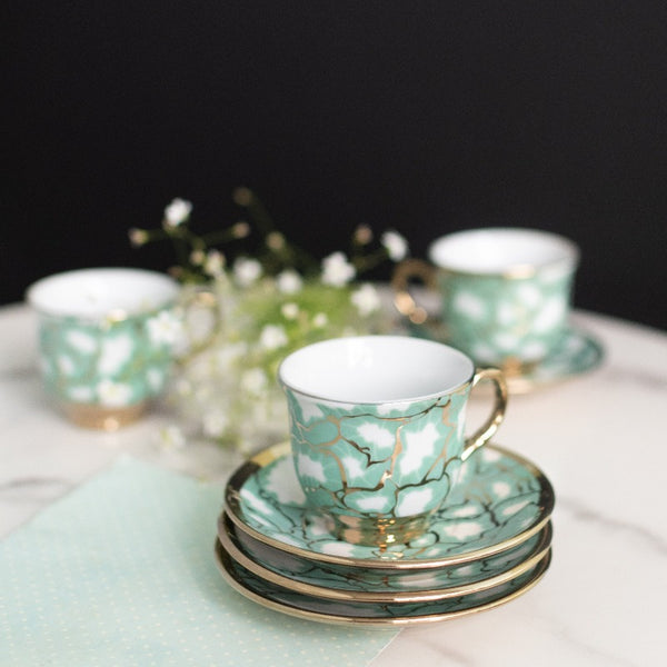 Green Ripple Gold Rimmed Tea Cup and Saucer Set (Set of 6)