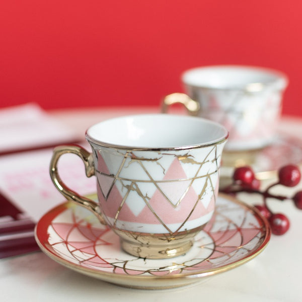 Pink Geometric Gold Rimmed Tea Cup and Saucer Set (Set of 6)