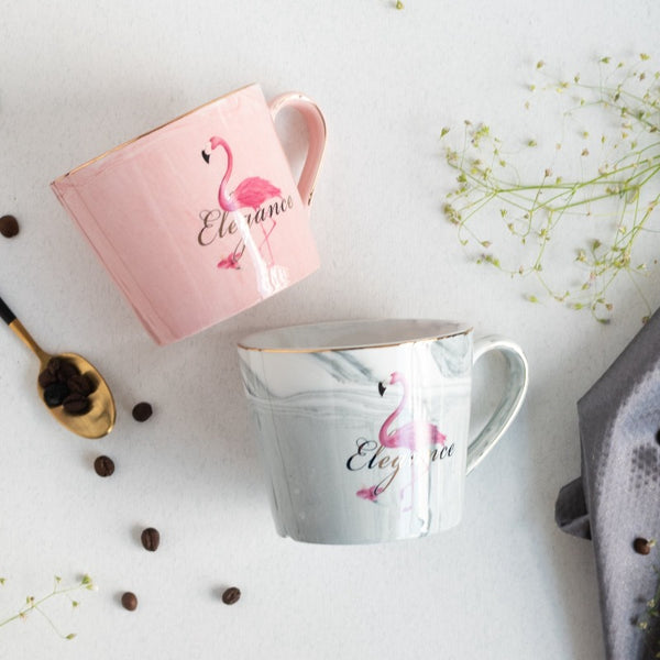 Dreamy Flamingo Marble Coffee Mug