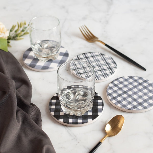 Checks Print Ceramic Coasters (Set of 4)