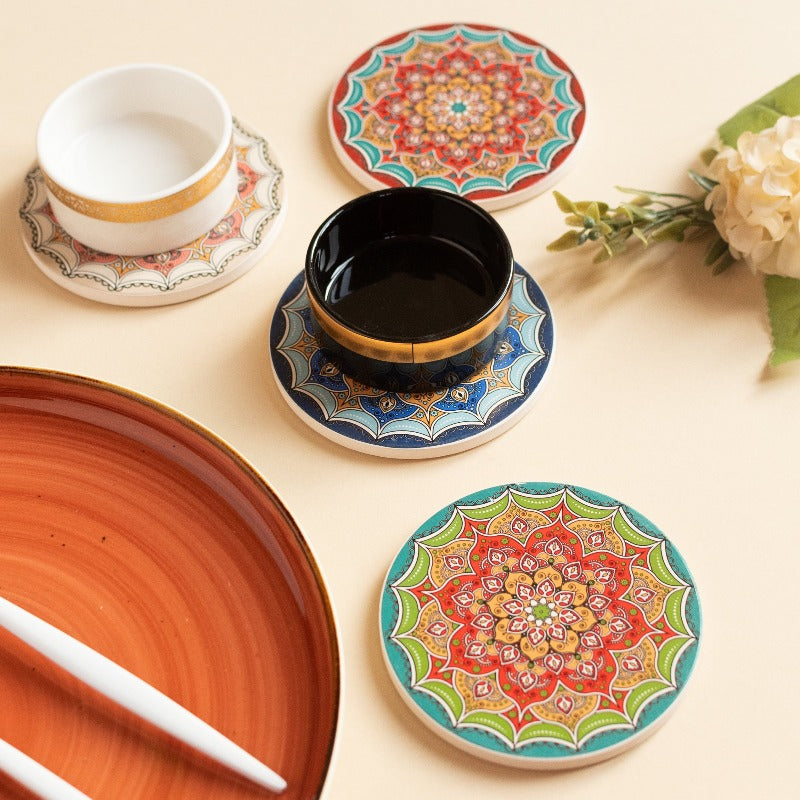 Mandala Print Ceramic Coasters (Set of 4)