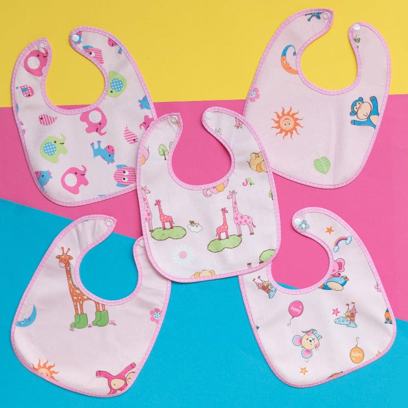 Printed Baby Bib - Pink - Set of 3 (Assorted)