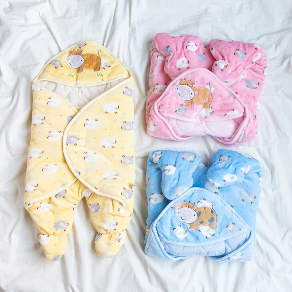 Sheep Printed & Hooded Baby Swaddle