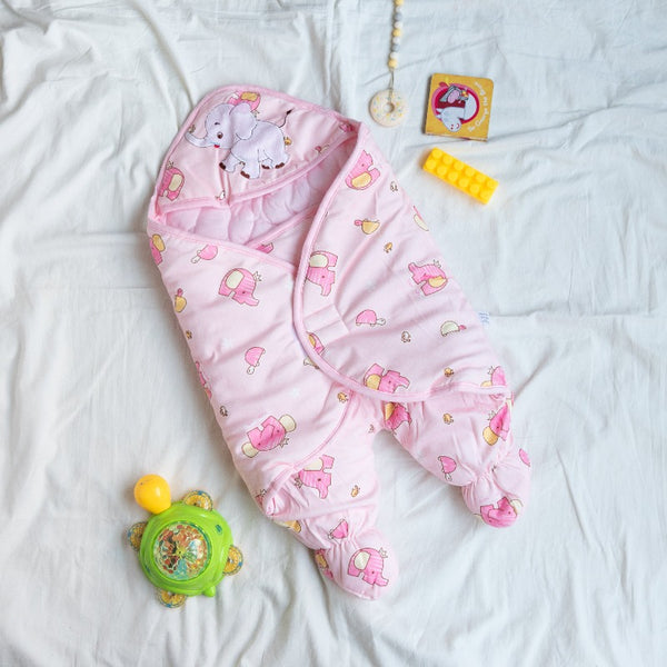 Elephant Printed & Hooded Baby Swaddle