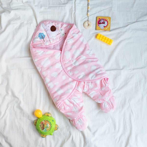 Cloud Printed & Hooded Baby Swaddle