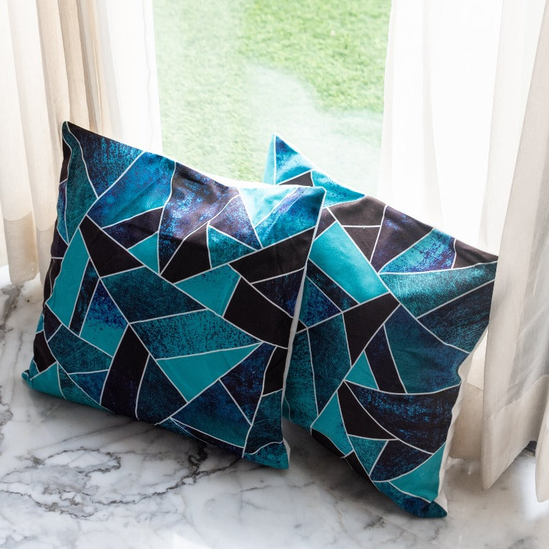 Blue Abstract Print Cushion Covers (Set of 2)