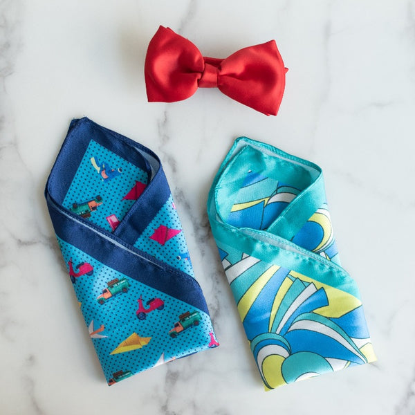 Quirky Blues - Pocket Squares (Set of 2)