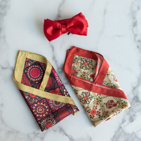 Circular and Floral Print - Pocket Squares (Set of 2)
