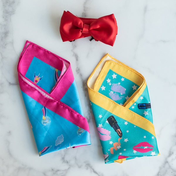 Lips and Rocket Print - Pocket Squares (Set of 2)