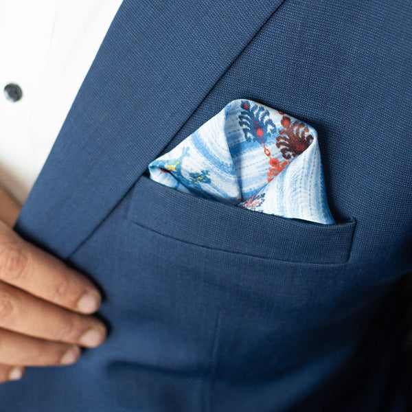 Traditional Blues Print - Pocket Squares (Set of 2)