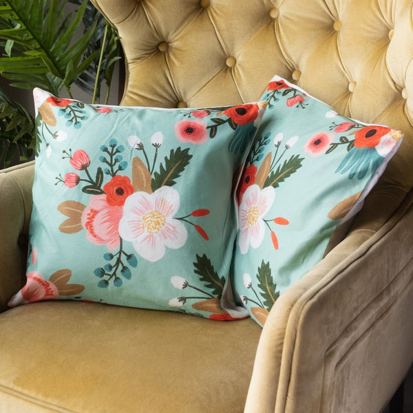 Green Floral Print Cushion Covers (Set of 2)