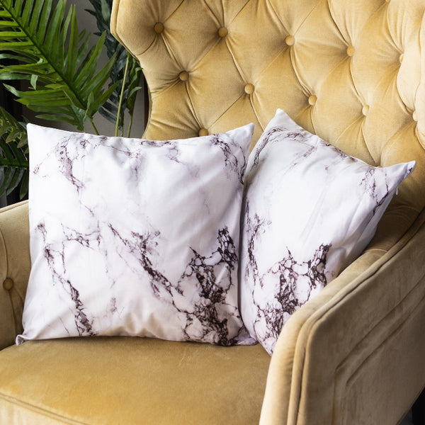 Monochrome Marble Print Cushion Covers (Set of 2)