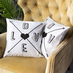 Arrow Heart Print Cushion Covers (Set of 2)