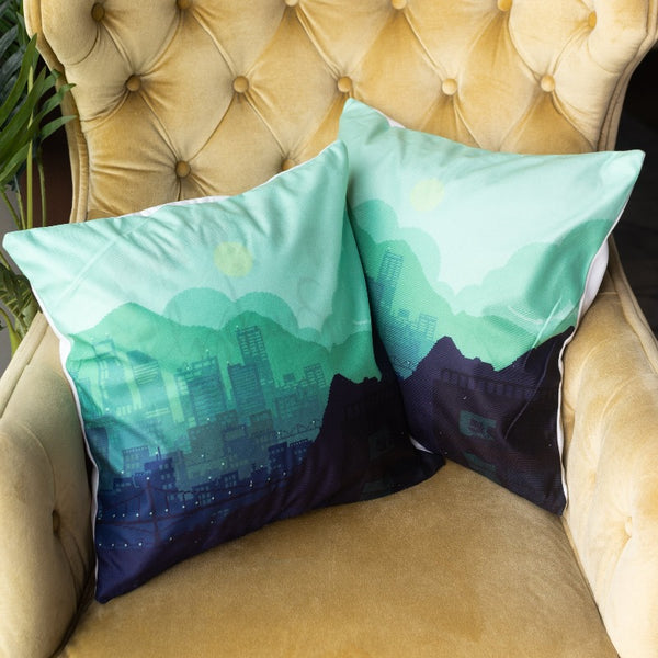 Cityscape Print Cushion Covers (Set of 2)