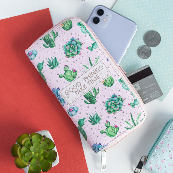 Cactus Pattern Zip-Around Wallet