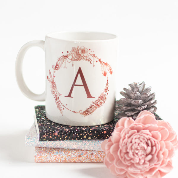 Dream catcher Print Ceramic Cup Initials