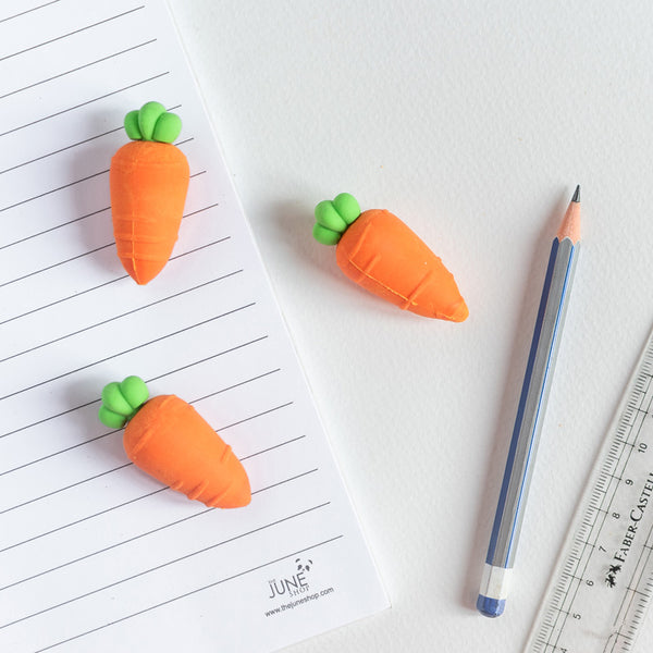 Carrot Shaped Eraser Set of 3
