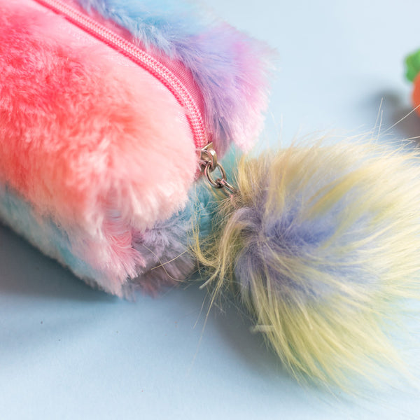 Multicolored Fur Pencil Pouch