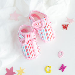 Pink Stripes Print Baby Anti-Slip Shoes