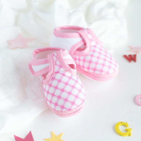 Pink Checks Print Baby Anti-Slip Shoes