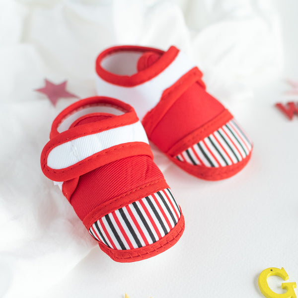 Red Stripes Print Baby Anti-Slip Shoes