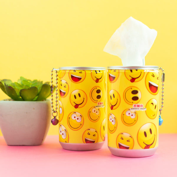 Emoticon Wet Wipe Tin Can (Set of 2)