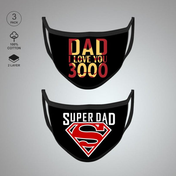 Pack of Two: Super Dad Face Mask