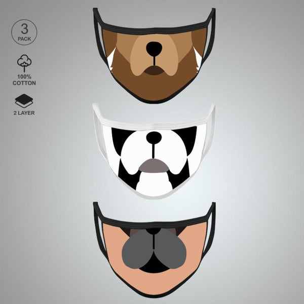 Pack of Three: Dog Face Mask