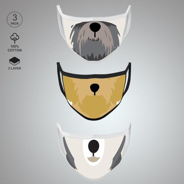 Pack of Three: Doggy Face Mask
