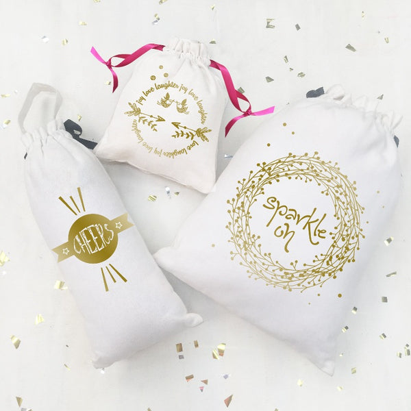 SHIMMER & SPARKLE BAGS (GOLD ON WHITE) - Pack of 3
