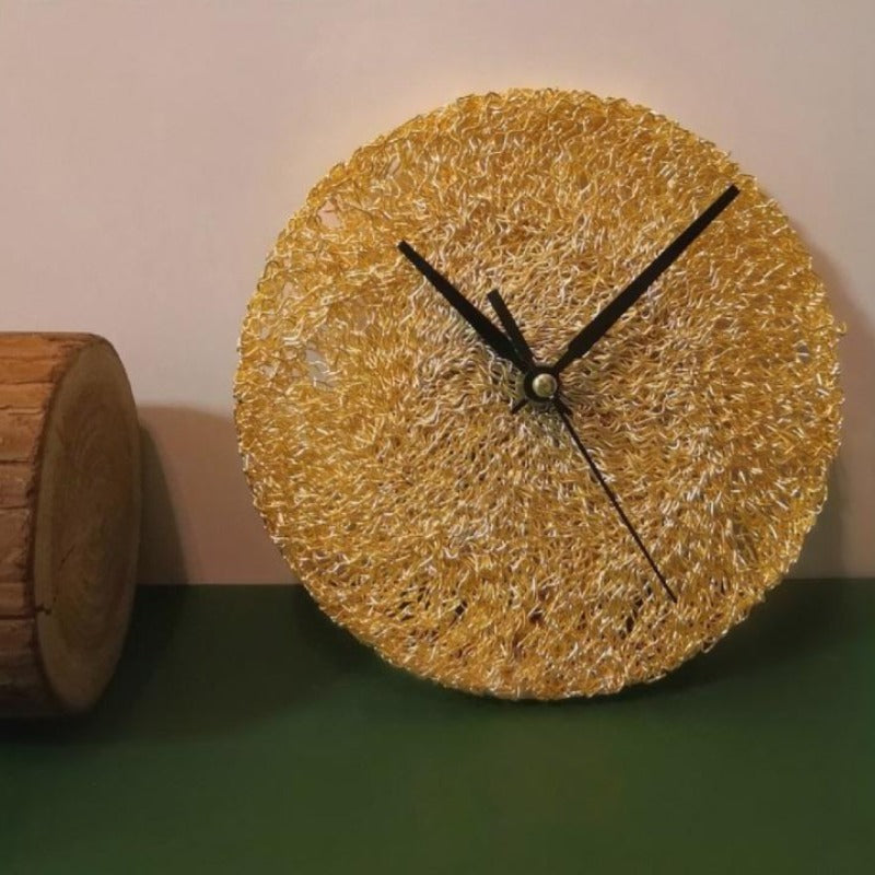 Golden Mesh Metal Wall Clock