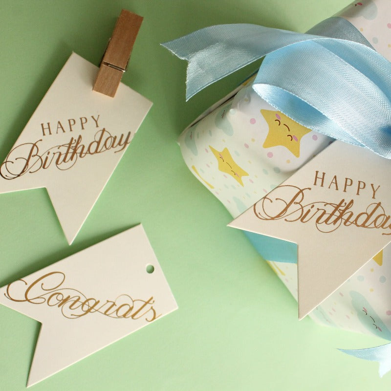 Happy Birthday + Congrats Gift Card Tags- Set of 10pcs