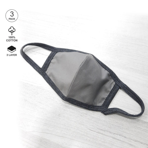 Pack of Three: Grey - Blue Face Mask