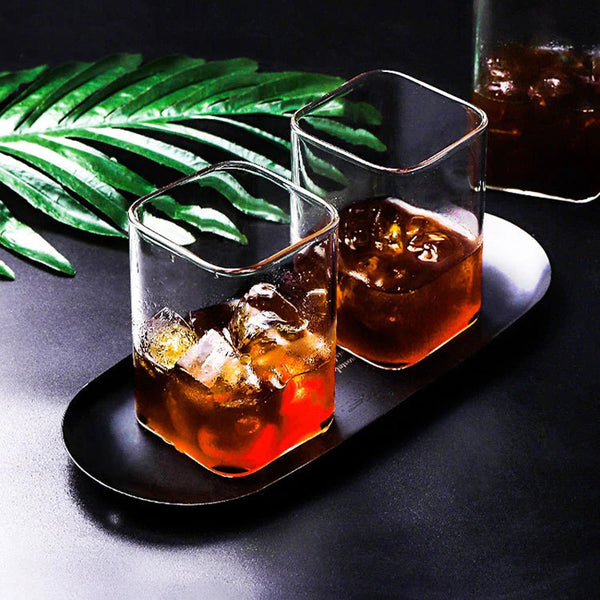 Square Shaped Glass Cup (Set of 2)